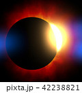 鮮豔細緻的真實太空行星場景紋理背景:日食/日蝕(高分辨率 3D CG 渲染∕著色插圖) 42238821