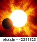 鮮豔細緻的真實太空行星場景紋理背景:日食/日蝕(高分辨率 3D CG 渲染∕著色插圖) 42238823