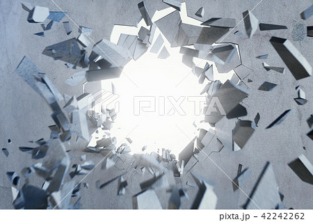Cracked earth abstract background with volume light rays. Cracked concrete earth abstract background 42242262