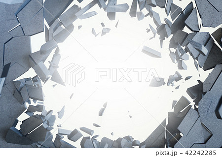Cracked earth abstract background with volume light rays. Cracked concrete earth abstract background 42242285