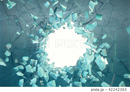 3D illustration wall of ice with a hole in the center of shatters into small pieces. Place for your 42242303