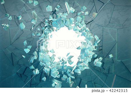 3D illustration wall of ice with a hole in the center of shatters into small pieces. Place for your 42242315