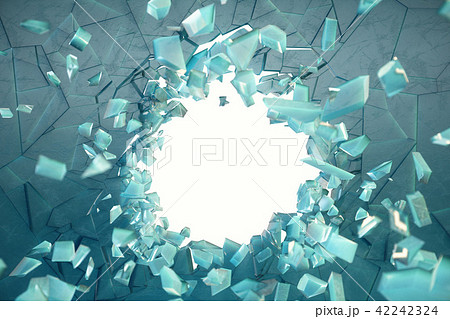 3D illustration wall of ice with a hole in the center of shatters into small pieces. Place for your 42242324