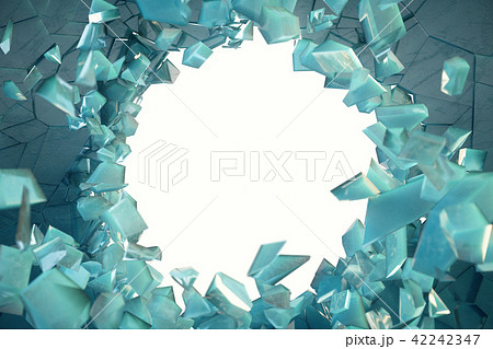 3D illustration broken ice wall with hole in centre. Place for your banner, advertisement. 42242347