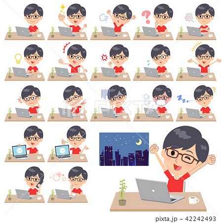 red Tshirt Glasse men_desk work 42242493
