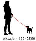わんこ 犬 女性のイラスト 42242569