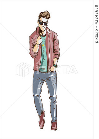 Fashion man vector illustration. Fashion man in sun glasses modern hair style and pastel colors 42242659