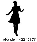 Silhouette of People Standing on White Background. 42242875