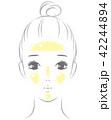 皮脂が顔に浮いた女性 42244894