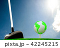 Globe on golf ball on green grass 42245215