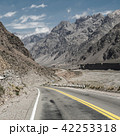 Mountain landscape with blue sky and empty road 42253318