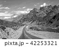 Mountain landscape with empty road in monochrome 42253321