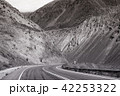 Mountain road trip landscape in black and white 42253322