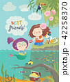Cute mermaid and girl are best friends 42258370