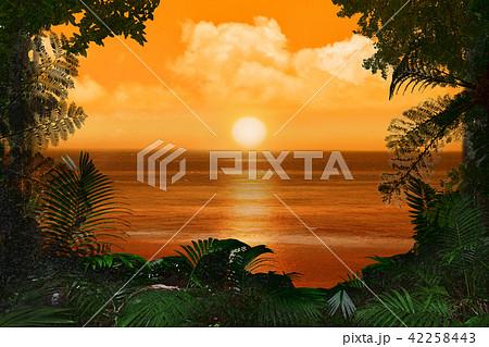 夕日とジャングルのイラスト素材...