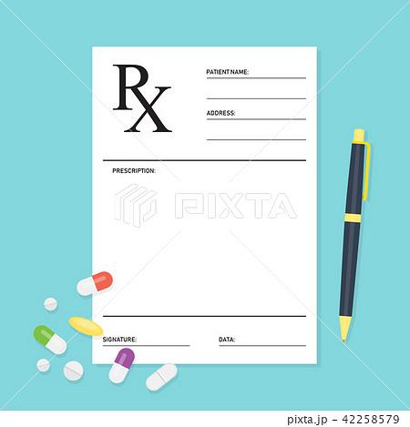 Empty medical prescription Rx form with pills 42258579