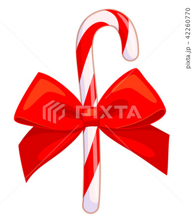 colorful cartoon candy cane with red bowのイラスト素材 42260770