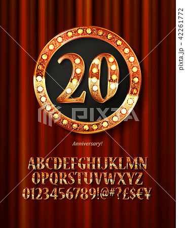 Golden alphabet with show lamps isolated 42261772