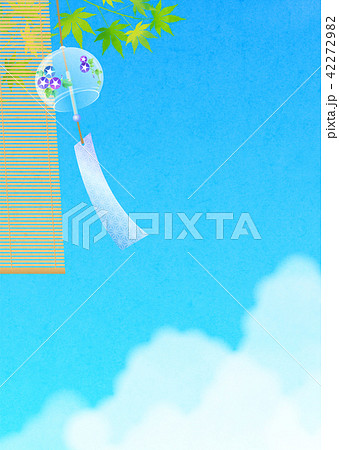 背景素材 風鈴と入道雲(朝顔) 42272982