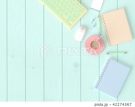 Flat lay design computer, keyboard,mouse 42274367