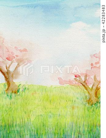 水彩イラスト 自然風景 桜の丘 42283483