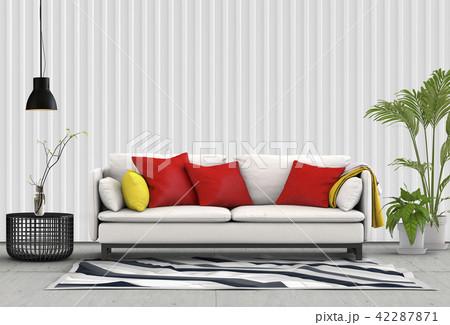 Interior living room  metal sheet wall. 3d render 42287871