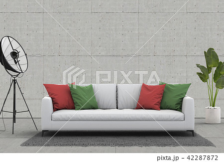 3D rendering of living room with concrete wall in  42287872