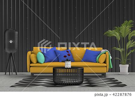 Interior living room  metal sheet wall. 3d render 42287876