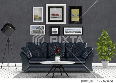 3D rendering of living room with concrete wall in  42287878