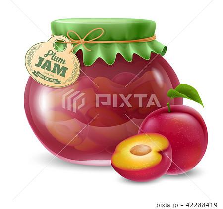Plum jam in the glass jar 42288419