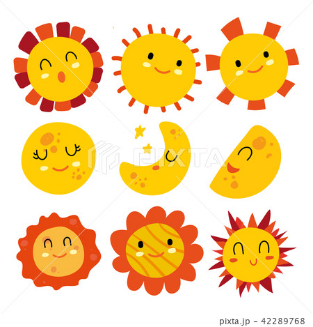 sun and moon vector collection designのイラスト素材 42289768 pixta