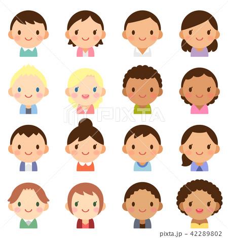 世界の人々 人種 男女 顔 かわいい フラット アイコン セットの
