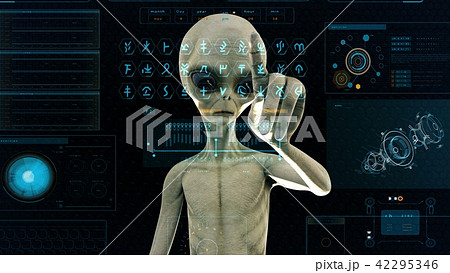 Alien presses the keys on sci-fi hologram screen. Realistic motion background. 3D Rendering. 42295346