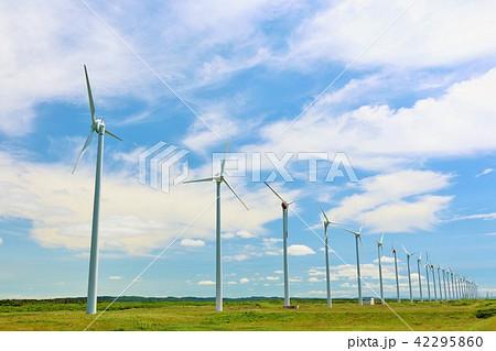 北海道 青空と風力発電 42295860