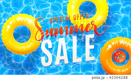 Summer sale banner background with blue water texture and yellow pool float. Vector illustration of 42304288