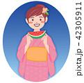 浴衣 女性 スイカのイラスト 42305911