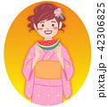 浴衣 女性 スイカのイラスト 42306825