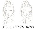 女性 顔 線画のイラスト 42316293
