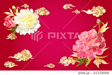 Background with peonies and Chinese clouds 42328006