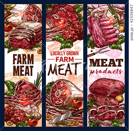 Vector sketch banners of meat steaks and loins 42336847