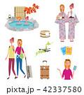 インバウンド 外国人旅行者 温泉 イラスト セット 42337580