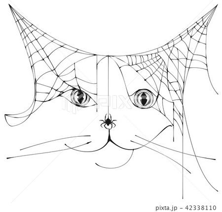 Spider web shape silhouette cat head halloween 42338110