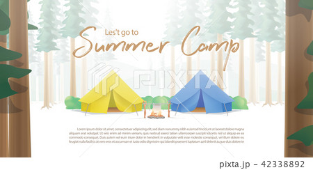 summer camp poster or banner yellow blue campのイラスト素材