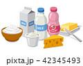 ミルク 牛乳 チーズのイラスト 42345493