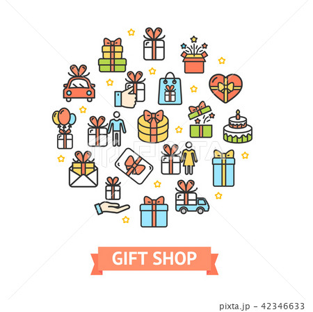 present gift shop signs round design template thin line icon concept