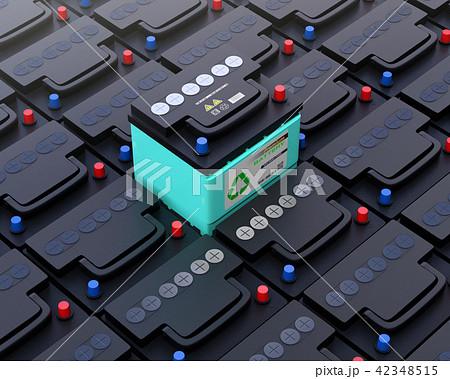 ノーマルバッテリーの上にあるリサイクル可能なエコバッテリー 42348515