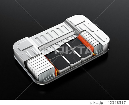 バッテリー交換ステーションにバッテリーを交換している電動SUVのイメージ 42348517