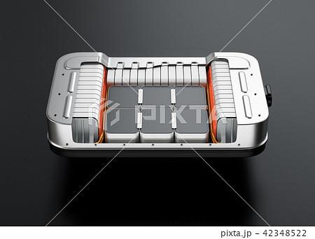 黒バックに電気自動車用バッテリーパックのカットモデル 42348522