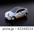 駆動部、バッテリーパックなどの部品が見える電動SUVのイメージ 42348524