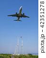 飛行機の着陸 Airplane landing 42351278